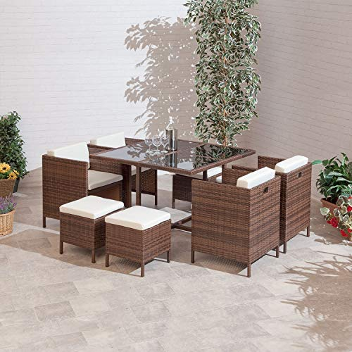 Quebec Outdoor Patio Dining PE Rattan Cube Garden Furniture Set with 8 Seats (Furniture Rattan Cube)