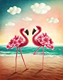 ALAZA Cartoon Flamingo Bird Garden Flag Yard Decoration, Pink Animal on Beach Ocean Double Sided Welcome House Flags Banner 28x40(in) for Outdoor Lawn Party Decor