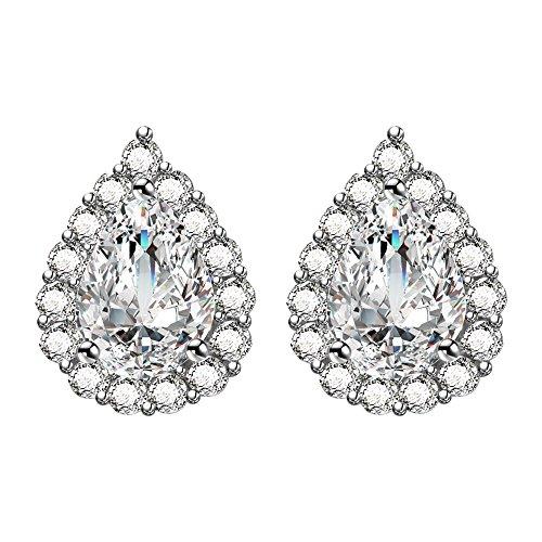 AoedeJ Teardrop Stud Earring 925 Sterling Silver Earrings CZ Wedding Bridal Earrings by AoedeJ