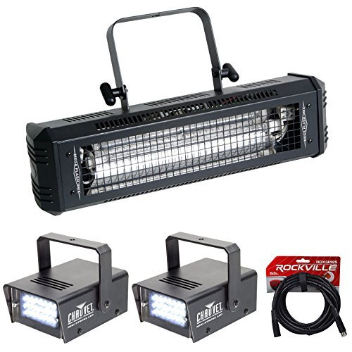 American DJ Mega Flash DMX 800 Watt Compact Strobe Light+(2) Mini Strobes+Cable by American DJ