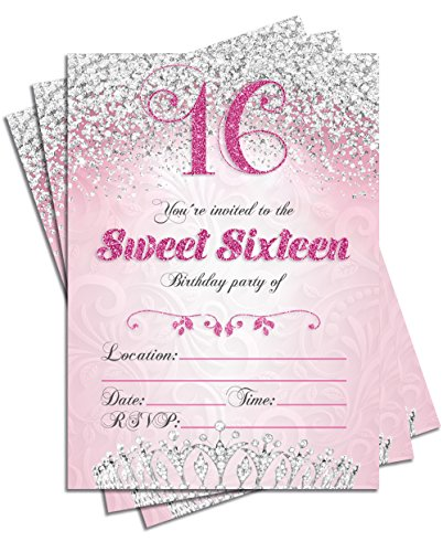 Sweet 16 Sixteen Birthday Party Double Sided Invitations, Set of 25 5x7 Girl's 16th Birthday Invitations includes -