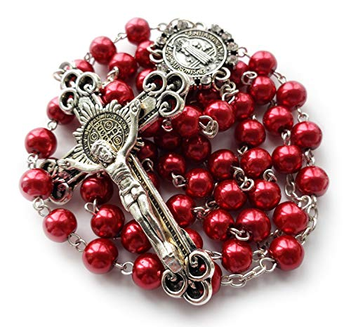 Big A Solutions Saint Benedict Rosary – Red Rosary Beads with Saint Benedict Crucifix and Center Piece – Rosario – Handmade – Imitation Pearl Glass Beads – Great Catholic Gift (Red – 19 inches)