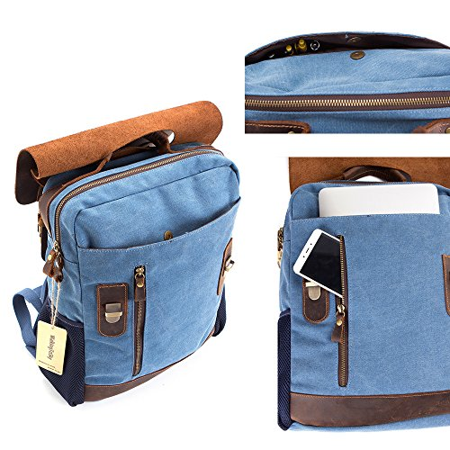 Vintage Leather Canvas Backpack - Retro Canvas School Rucksack Backpack up to 15.6 inch Laptop Bag by AUGUR (Image #4)