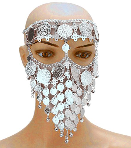 Astage Lady Cosplay Belly Dance Jewelry Coin Veil Halloween Accessories Silver Coin -