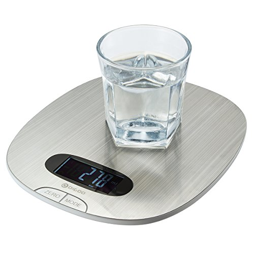 Kitchen Scale, DIGOO 11lb/5kg Digital Stainless Steel Multifunction Food Scale, Touch Control, Multi Measurement Units - grs, lbs, oz, ml, Ultra Lightweight, Slim Design, Silver (Batteries Included)