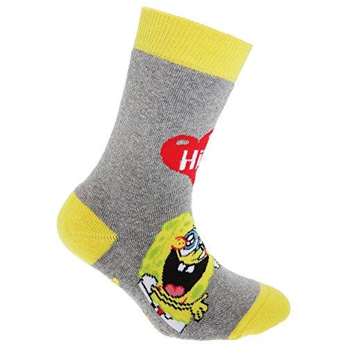 Spongebob Squarepants Official Childrens/Kids Slipper Socks (1 Pair) (US Child 7-9.5, EUR 23-26) (Grey/Yellow/Red)