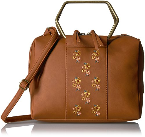 T-Shirt & Jeans Ring Satchel with Embroidered Flowers, Cognac