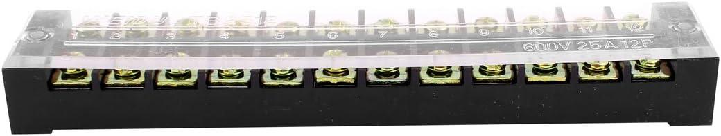 sourcing map 5pcs 600V 25A 2 rang/ée 12 Poste barri/ère de borne /à vis connecteur Blocs