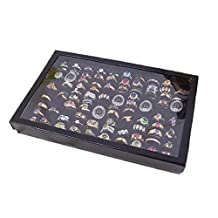 Changeshopping Jewelry Rings Display Tray Velvet 100 Slot Case Box Jewelry Storage Box (Black)