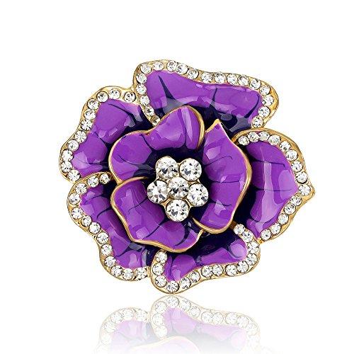 New Year Gift Vintage Rhinestone Bling Imitation Crystal Rose Flower Brooch Pin (Deep Purple)