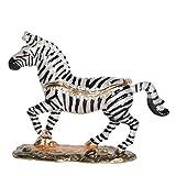 Jiaheyou Bejeweled Zebra Trinket Box Metal Jewelry Box & Organizer Necklace Holder Pewter Ornament Gift
