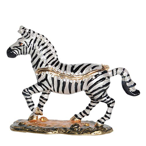 Minihouse Zebra Trinket Box Hinged Hand-Painted Enameled Figurine Collectible Jewelry Box Ring Holder,Unique for Home Decor