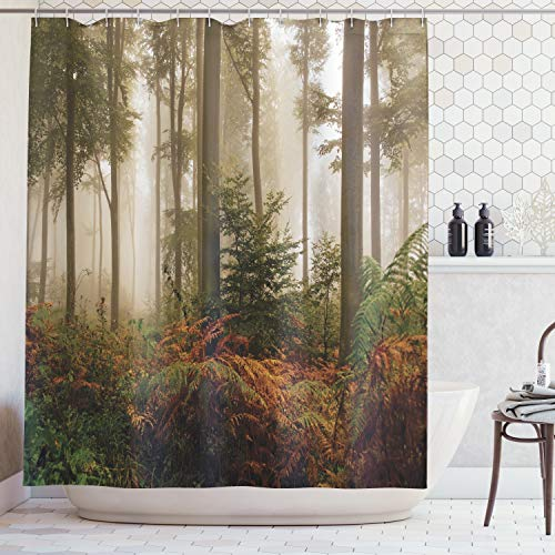 Mystical Collection - Ambesonne Farm House Decor Collection, Mystical Dark Fog Atmosphere Deep in the Forest Woodland Nobody Silence Image, Polyester Fabric Bathroom Shower Curtain Set with Hooks, Brown Orange Green