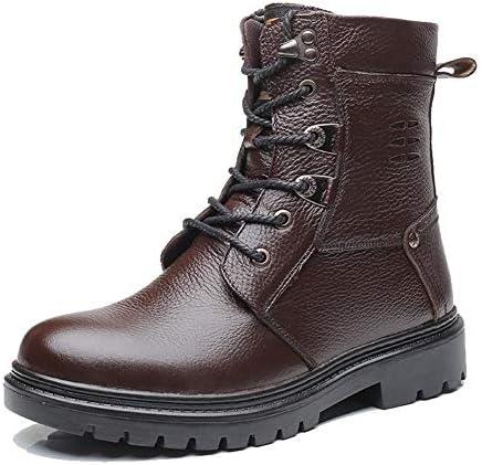クラシックメンズ冬の雪のブーツに加え、ベルベット屋外作業アンクルブーツノンスリップのウェアラブル暖かいカジュアルな快適な黒 (色 : 褐色, サイズ : 24.5 CM)