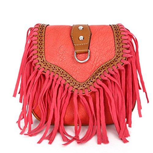 Shoulder Body Retro Cross Red Tassels Handbag Bescita Bag Scrub Leather Single Women nz6wxZfq0S