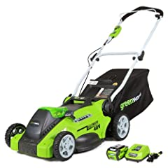 Whether it's the noise, the fumes or hassle of maintaining gas powered tools, this G-MAX 16 inch Mower makes it an easy transition to battery operated tools. Reliable, easy to use and low maintenance, this mower does a great job in small to m...