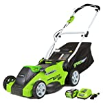 Greenworks 16-inch 10 amp corded electric lawn mower 25142 & 24012 7 amp 160 mph single speed electric blower, black and… 10 g-max 40v 4ah li-ion battery (model 29472) powers multiple tools for complete yard work system--includes 1-4ah battery and charger single lever 5-position height adjustment offers cutting height range from 1-1/4 inch to 3-3/8-inch for the best cut in all environments 2-in-1 feature offers rear bagging and mulching capability for multiple use. Cuts 400m2 on a single charge. Nice even cut for all grass types
