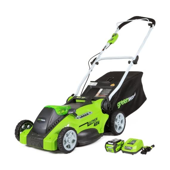 Greenworks 16-inch 10 amp corded electric lawn mower 25142 & 24012 7 amp 160 mph single speed electric blower, black and… 1 g-max 40v 4ah li-ion battery (model 29472) powers multiple tools for complete yard work system--includes 1-4ah battery and charger single lever 5-position height adjustment offers cutting height range from 1-1/4 inch to 3-3/8-inch for the best cut in all environments 2-in-1 feature offers rear bagging and mulching capability for multiple use. Cuts 400m2 on a single charge. Nice even cut for all grass types