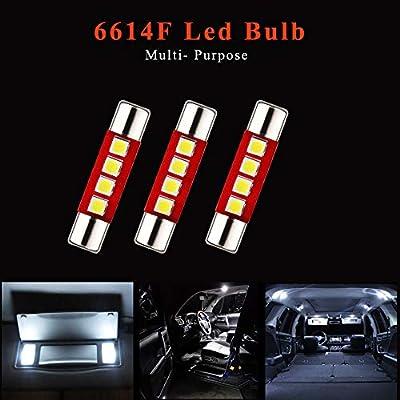 EverBright 6-Pack 28MM Festoon 6614F Led Bulb, Led Fuse Bulb for Interior Car Sun Visor Vanity Mirror Lights, Xenon White DC-12V: Automotive