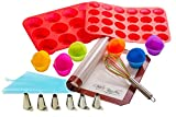Silicone Cupcake/Muffin Bakeware Set, 23-Piece, Mat/12-Cup Pan/24-Cup Pan/12 Single Mold/Whisk, Decorating Supplies Kit with 6 Icing Tips, Pastry Bag/Non-Toxic/Dishwasher/Oven/Freezer/Microwave Safe
