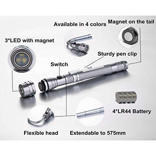 5000LM 3 Colors Mini COB LED Flashlight Pen Light Work Light Torch With Magnet