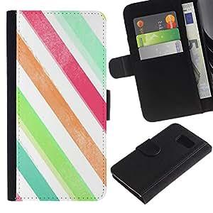 UberTech / Samsung Galaxy S6 SM-G920 / Lines Colors White Teal Green / Cuero PU Delgado caso Billetera cubierta Shell Armor Funda Case Cover Wallet Credit Card