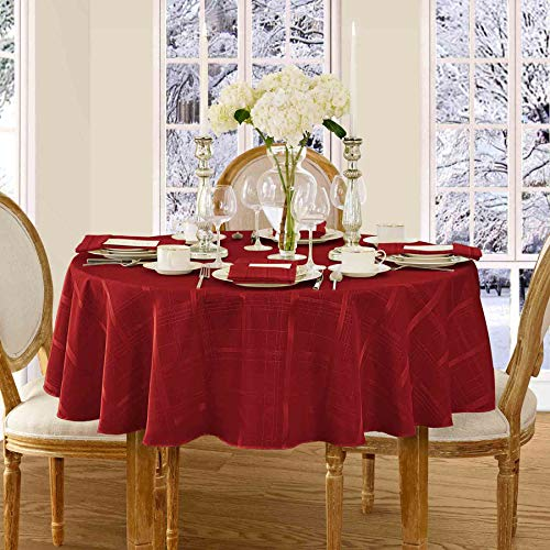 Newbridge Elegance Plaid Christmas Fabric Tablecloth, 100% Polyester, No Iron, Soil Resistant Holiday Tablecloth, 70 Inch Round, Poinsettia Red (70 Red Round Tablecloth)
