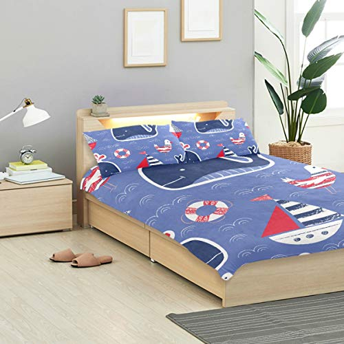 (KVMV Whimsical Cute Handdrawn Crayons Whale Ship Duvet Cover Set Design Bedding Decoration King 3 PC Sets 1 Duvets Covers with 2 Pillowcase Microfiber Bedding Set Bedroom Decor Accessories)