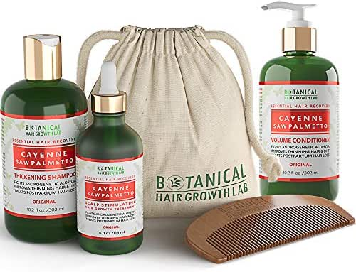 Botanical Hair Growth Lab 3 Pc Value Set Cayenne - Saw Palmetto For Hair Thinning Prevention Alopecia Postpartum DHT Blocker Scalp Treatment, Hair Loss Shampoo and Conditioner
