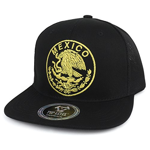 Trendy Apparel Shop City of Mexico Eagle Embroidered Flatbill Trucker Mesh Cap - Mexico Black,One ()