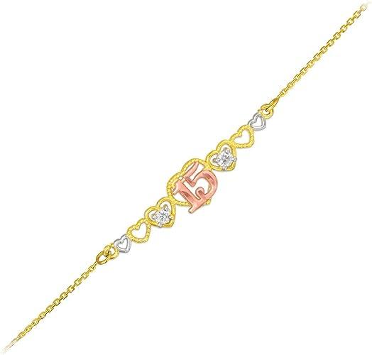 Rose and Rhodium Diamond-cut Moon Pendant 14 kt Tri-Color Gold 14K Yellow