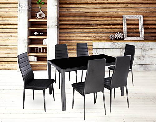 EBS 7 Piece Home Kitchen Dining Room Metal Furniture Set for 6 with Glass Top Table + 6 Chairs Metal Leg & Frame - Dark Black Finish