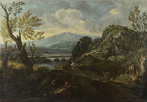 Oil Painting 'Crescenzio Onofri - Landscape With Figures,probably 1670-1712' 20 x 29 inch / 51 x 73 cm , on High Definition HD canvas prints is for Gifts And Game Room, Home Office And Living (Bleu Electric Wall Sconce)
