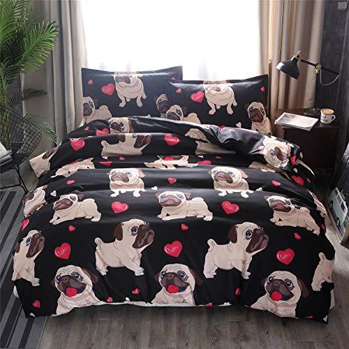 A Nice Night Pugs Funny Cartoon Dog Prints Lightweight Duvet Cover Set for Kids Girls Children Teen No Comforter (Cute-Style 01, Twin(Cover))
