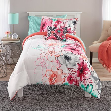 Mainstays Watercolor Floral Coordinated Bedding Set
