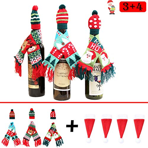 Monadicase Christmas Wine Bottle Cover Gift Wrapping Knitted Sweater Scarves and Hat for Home Party Kitchen Table Decoration 3 Designs - with 4 pcs Santa Claus Hat Cutlery Bags Set Cute Tableware Hold ()