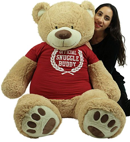 Big Plush 5 Foot Giant Teddy Bear Soft 60 Inch, Wears Removable T-Shirt Official Snuggle Buddy