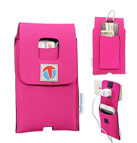 """5.5"""" - 6"""" Tainada Multi-Purpose Shockproof Neoprene Smartphone Pouch Case Sleeve [Wall Charger Hanger] with Card Holder, Carabiner and Lanyard for iPhone 8 Plus, 7 Plus, 6s Plus and more! (Pink)"""