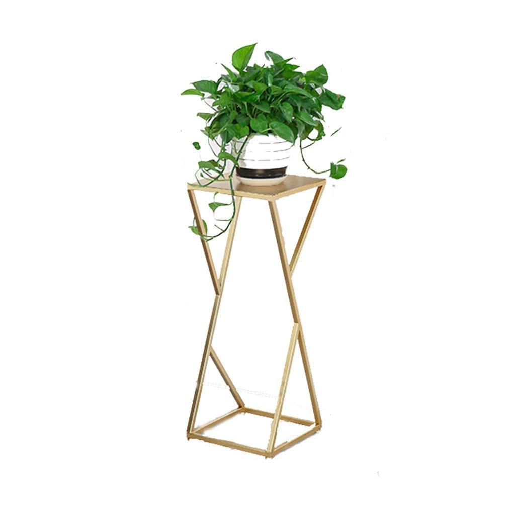 DaPeng Flower Stand, a Forma di X saldato in Ferro battuto Vaso da Fiori al Coperto Soggiorno al Piano del Balcone Semplice Telaio Bonsai (Senza Piante) (colore   oro, Dimensioni   XL)