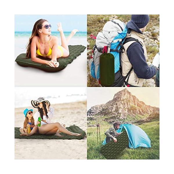 51u6vsgK2LL Karvipark Camping Isomatte, Ultraleichte Luftmatratze mit Kopfkissen, Faltbar Leicht Kleines Packmaß, Wasserdicht…