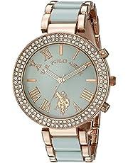 يو.اس. بولو اسن ساعة كوارتر للنساء، بشاشة عرض انالوج وسوار مطلي بالذهب طراز USC40083
