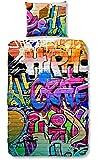Good Morning 5481-P Graffiti Parure de Couette Coton Multicolore 140 x 200 cm