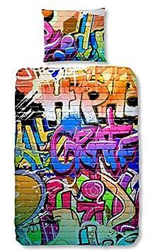 GOOD MORNING Juego De Funda Nórdica Graffiti Multicolor Cama 80 (135 x 200 cm + 80 x 80 cm) 5481-P 135cm 5481-P_Multi-135x200cm(S2pz)