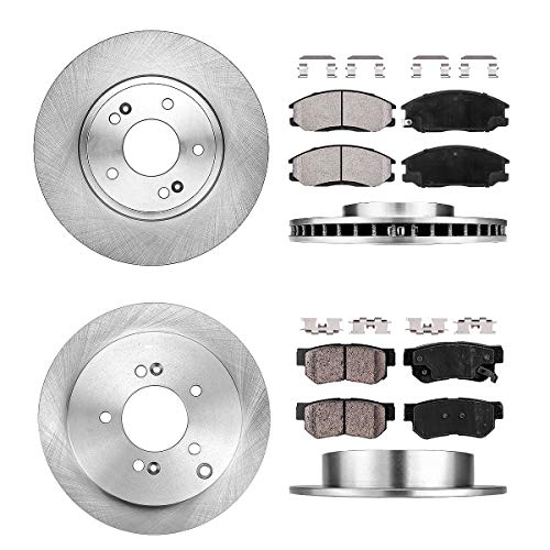 FRONT 293.8 mm + REAR 283.8 mm Premium OE 5 Lug [4] Rotors + [8] Quiet Low Dust Ceramic Brake Pads + Clips