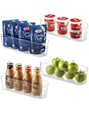 """Set Of 4 Refrigerator Organizer Bins - Stackable Fridge Organizers for Freezer, Kitchen, Cabinets - Clear Plastic Pantry Storage Rack - Food Storage Bins with Handle 14.5"""" Long"""