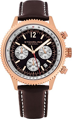 - Stuhrling Original Men's 669.04 Analog Monaco Quartz Chronograph Date 16K Rose Gold Plated Brown Genuine Leather Strap Watch