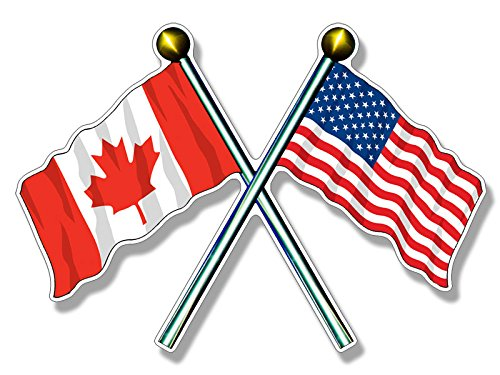 Canada Waving Flags Sticker (american canadian) ()