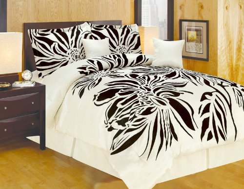 Black Flocking Printing - FineHome Modern Oversize Queen (90x94) Beige with Black Flocking Printing Bamboo Nod Comforter Set Bedding-in-a-bag
