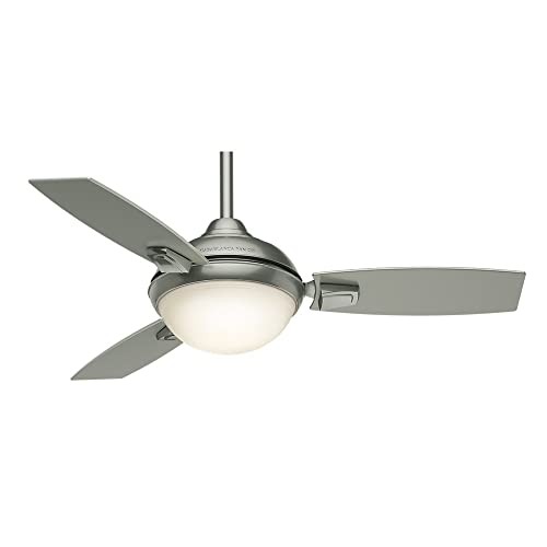 Casablanca Indoor Outdoor Ceiling Fan with LED Light and remote control – Verse 44 inch, Satin Nickel, 59155