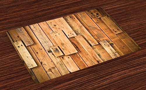 Ambesonne Wooden Place Mats Set of 4, Lodge Style Hardwood Planks Image Print Farmhouse Grunge Design, Washable Fabric Placemats for Dining Table, Standard Size, Salmon Orange